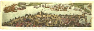The Battle of the Solent, 1545. The Cowdray Engraving.