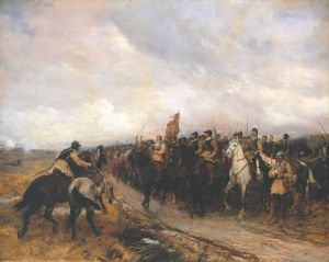 Cromwell at the Battle of Dunbar (1650). One of the few occasions in the 17th century an English army invaded Scotland.