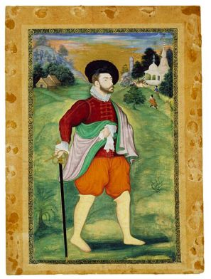 European in Mughal Miniature, c. 1590