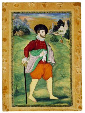 European in Mughal Miniature, c. 1590