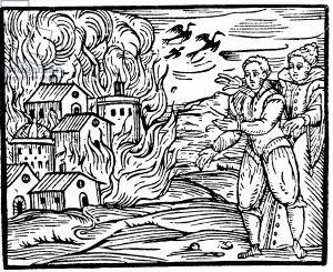 Witches destroying a house by fire, Swabia in 1533, illustration from 'Compendium Maleficarum' by Francesco Maria Guazzo, 1608 (woodcut)