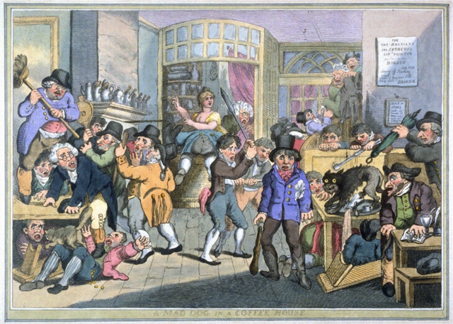 Thomas Rowlandson, A Mad Dog in a  Coffee House (c. 1800)