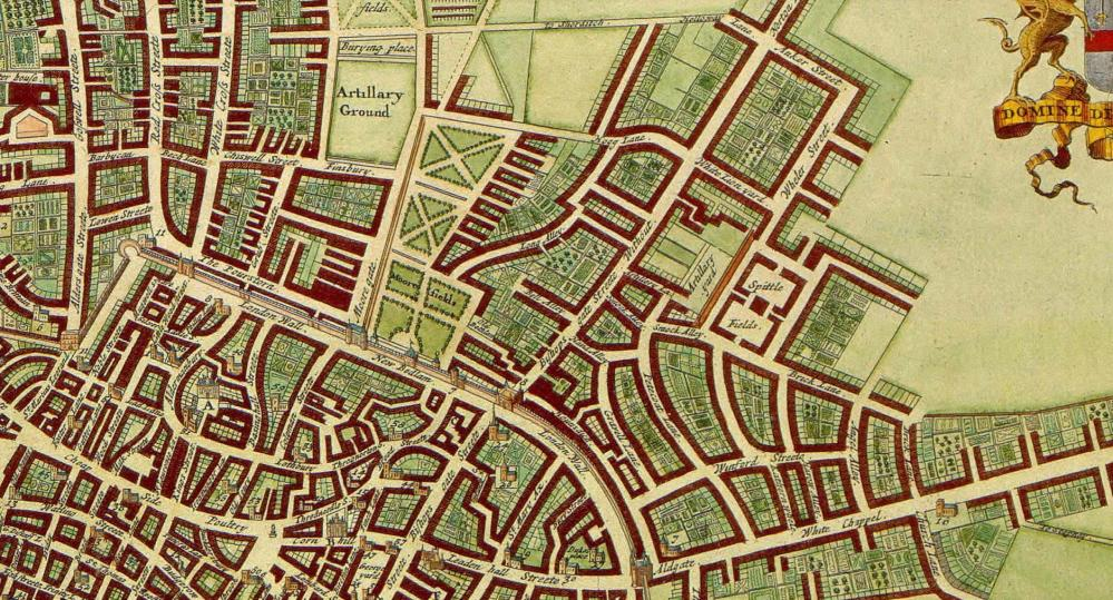 London's north-east suburbs in the late 17th century, by Wenceslas Hollar. Artillery Lane runs between Spitalfields and Bishopsgate Street
