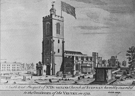 The Church of St Dunstan, Stepney in the 18th century
