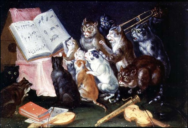 A Musical Gathering of Cats (oil on canvas)